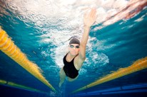 dynamic swimmer on swimming lane
