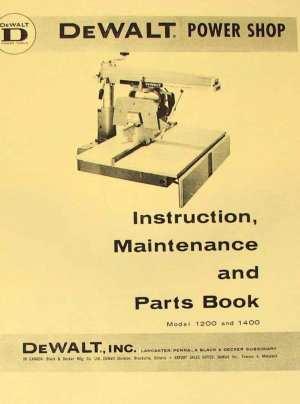 DEWALT Power Shop 1200 & 1400 Radial Arm Saw Instructions