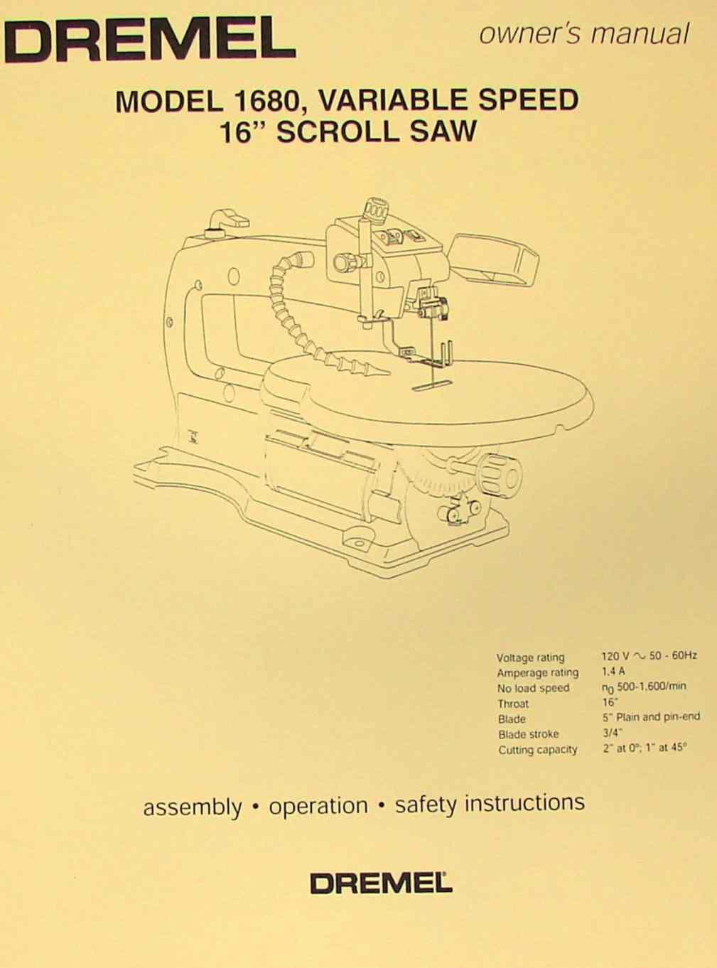 Dremel 1680 Wiring Diagram Electrical Diagrams Scroll Saw Manual