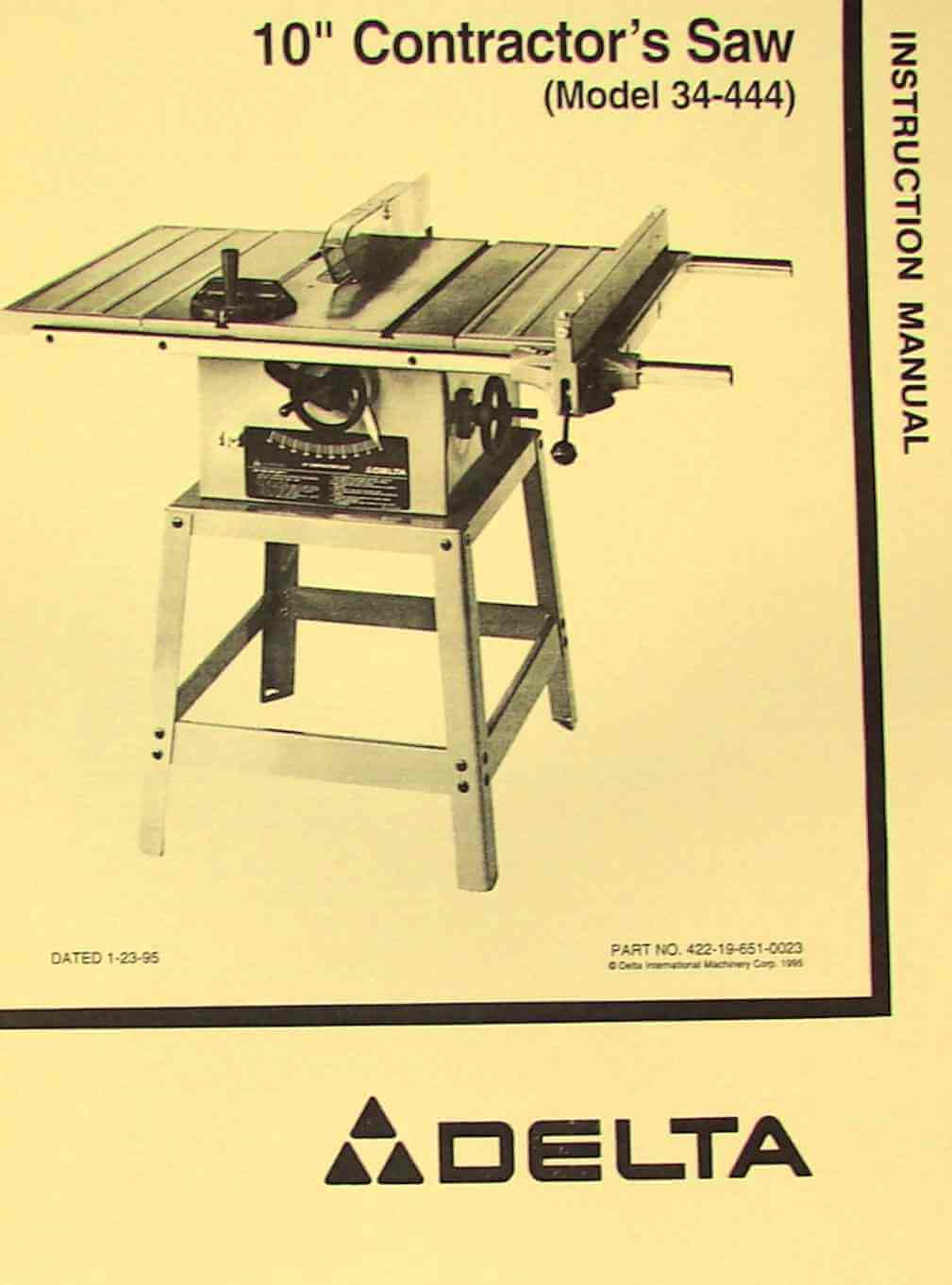Delta 10 Quot Contractor S Table Saw 34 444 Instructions