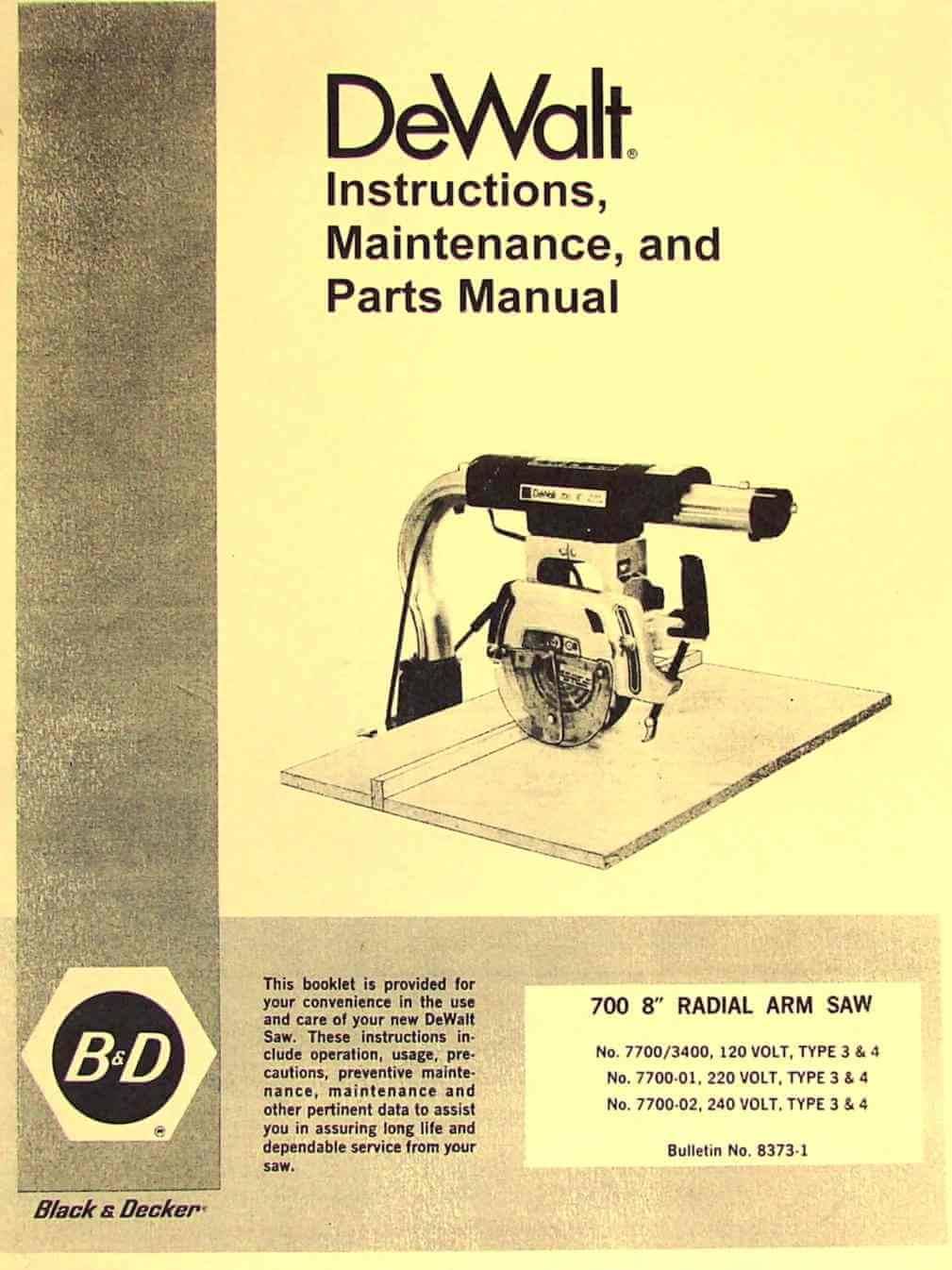 And 8 Owners Table Saw Black Decker Manual