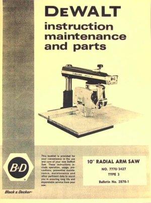 DEWALT 7770 10inch Radial Arm Saw Owner's Instructions