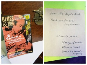 photo of Blues & Soul Magazine and a handwritten letter from the Editor in Chief