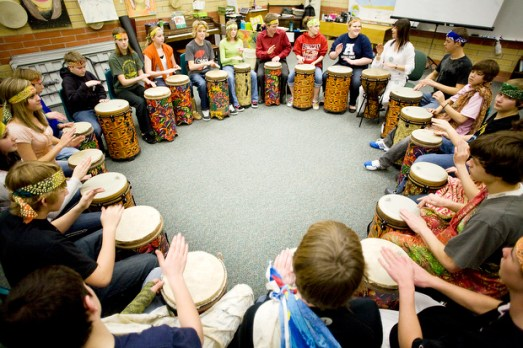 NICK WOLCOTT/CHRONICLE Sacajawea MIddle School students drum in Irena Beard's world music class on Tuesday. The Bozeman School Board heard an overview of the district's music, arts and health curriculum on Tuesday at the school.