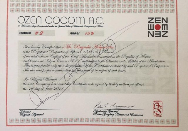 Ozen Cocom ac number 2 shares 15 persent Bryndis Helgadottir extort ozen rajneesh resort