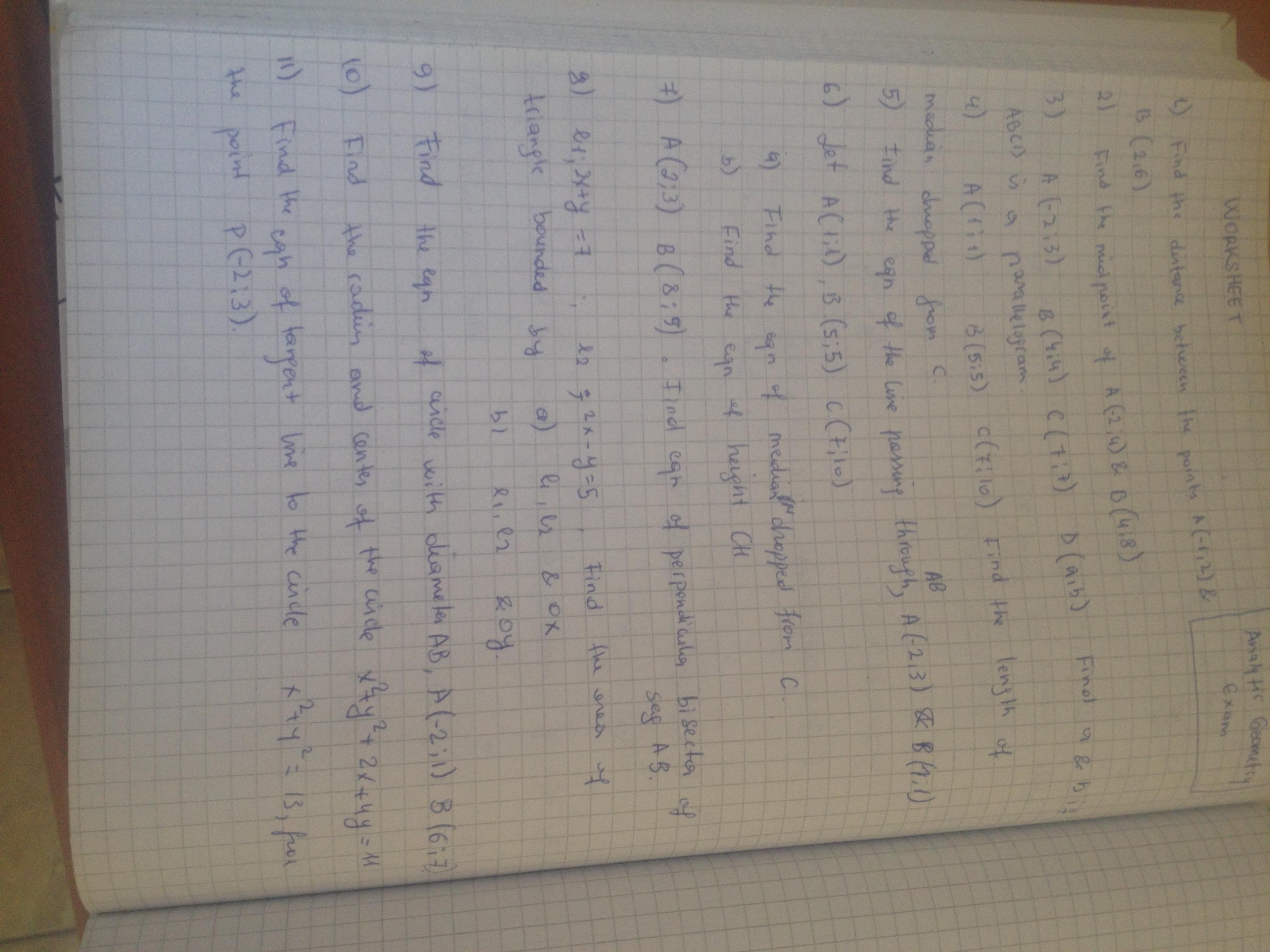 Worksheet Forytic Geometry