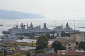 Italian warships at La Spezia Port, Italy