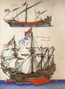 Venetian mavna ship and Ottoman goke ship