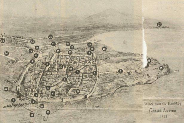 Chalcedon map 5. century, ıstanbul Byzantium