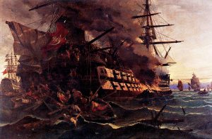 The burning of the Ottoman frigate at Eressos by Dimitrios Papanikolis