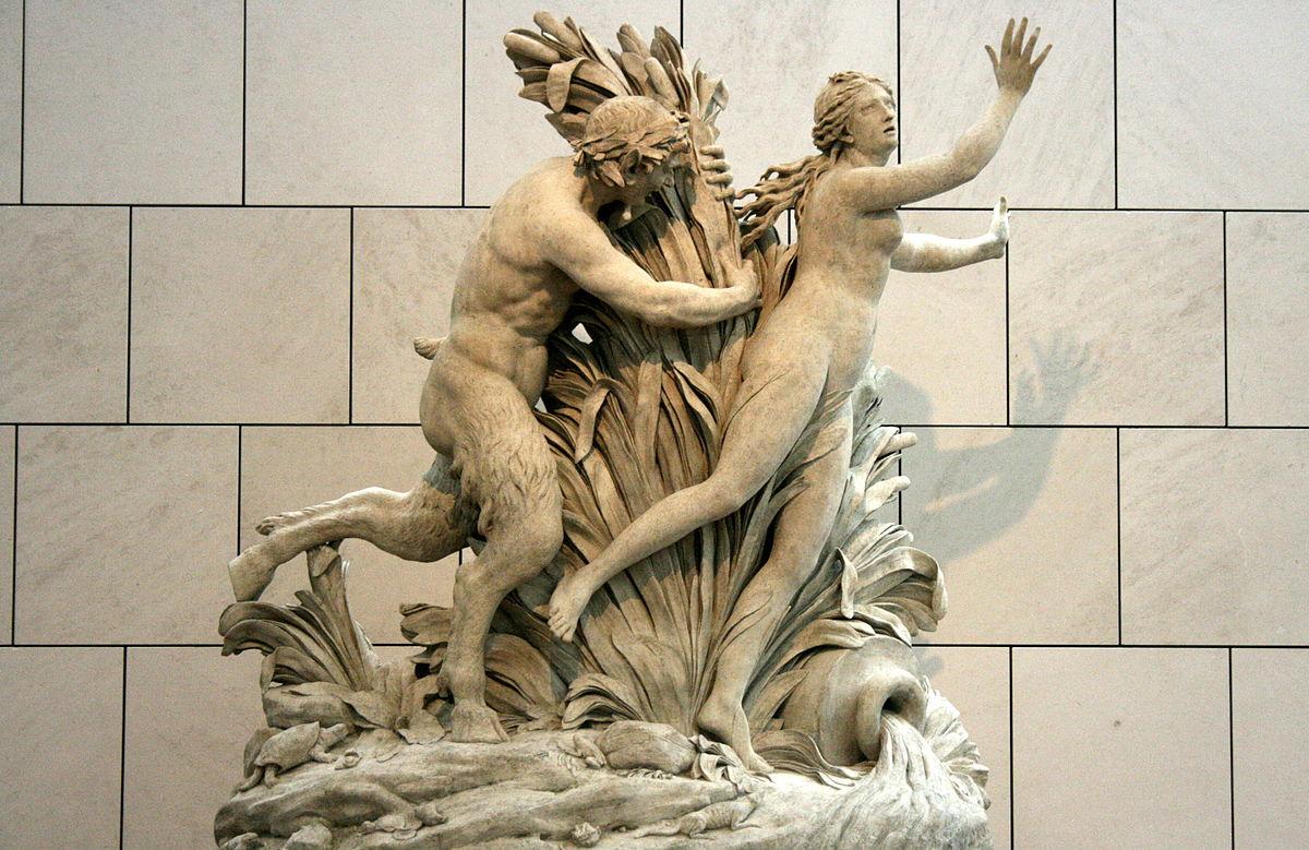 Pan poursuivant Syrinx (1804) de Gilles-Lambert Godecharle (1750-1835). Musées royaux des beaux-Arts de Belgique, Bruxelles (Belgique)