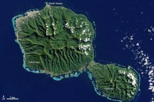 Tahiti satellite picture NASA, 2001  French Polynesia Society Islands