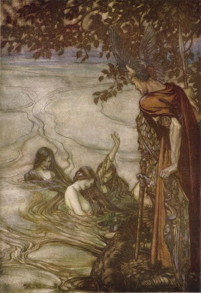 Rhein maidens warn Siegfried. Originally the image stems from Richard Wagner's Siegfried and the Twilight of the Gods, published in the same way in 1911 in London (William Heinemann) and New York