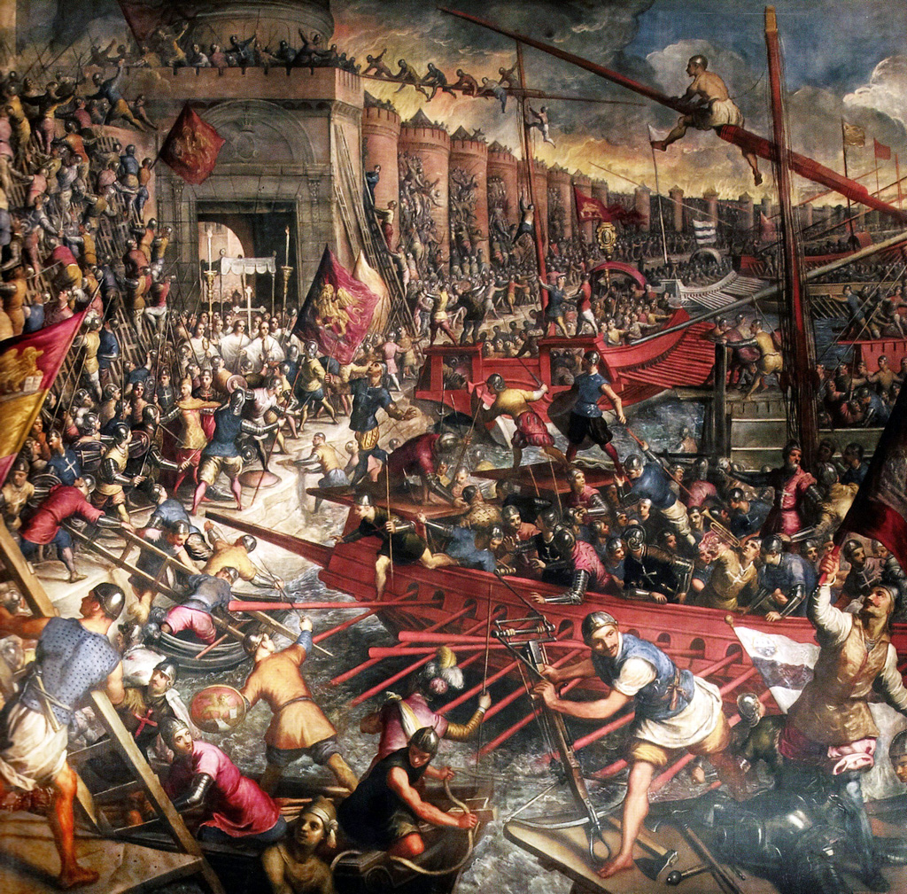 Venice and the Fourth Crusade of 1204. Domenico Tintoretto depicting the Venetians attacking the sea walls of Constantinople in 1204 CE during the Fourth Crusade.