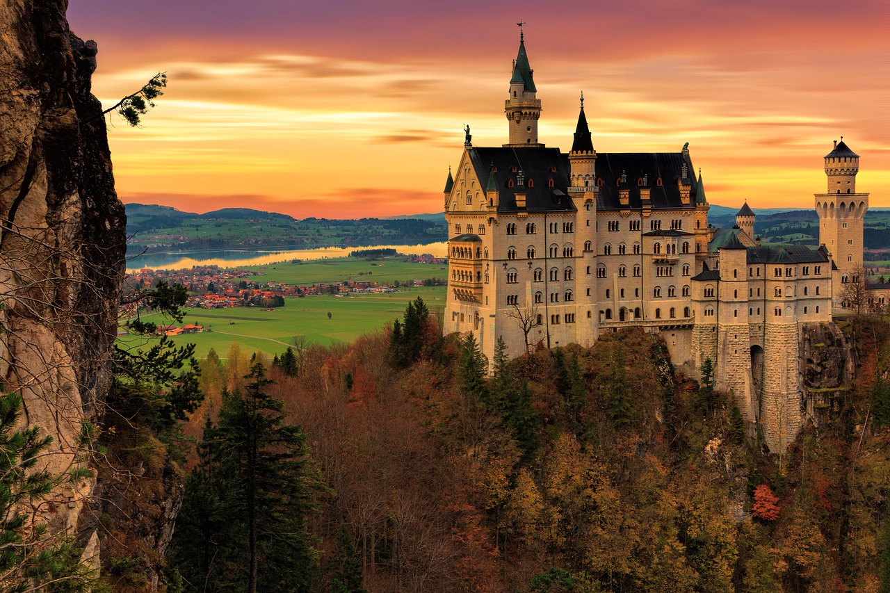 Neuschwanstein Castle sunset Bavaria Germany