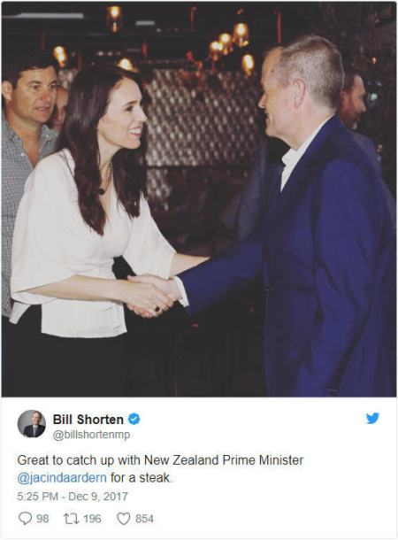 Tweet: Ardern w Shorten on NZ visit December 2017, Higher Education Reforms
