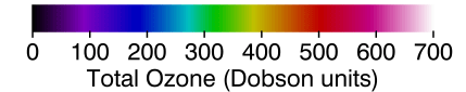 Palette relating map colors to ozone values