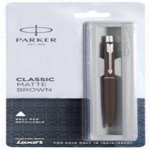 Parker Classic Matte Brown Blue Ball Pen With Chrome Trim