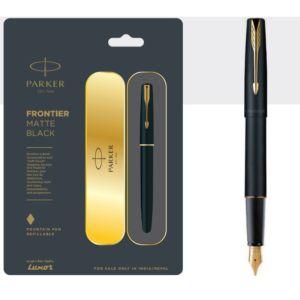 Parker Frontier Matte Black Fountain Pen With Gold Trim