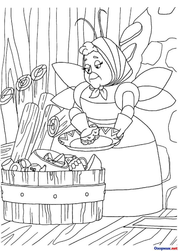 Раскраска Баба Капа моет посуду | Ozornik.net