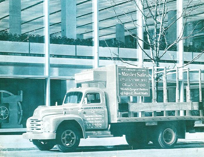1960's Manhatten Vault Door Install (Vault Door Left of Truck)