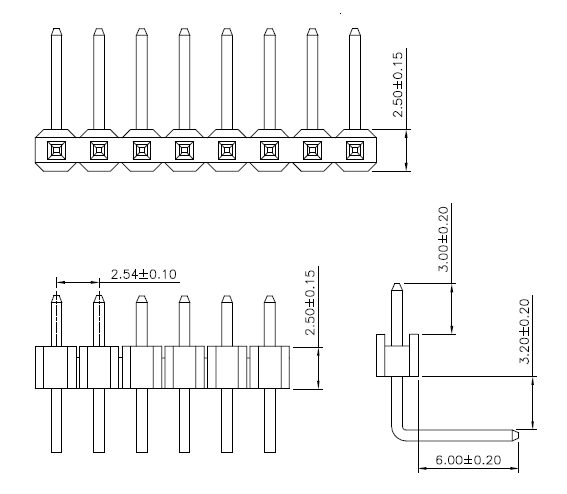 Male header right angle dimensions
