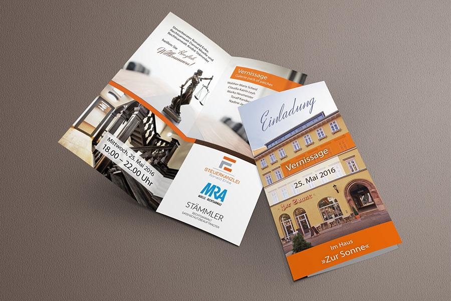 Flyer Einladung Vernissage Konzept Print Corporate Design Grafikdesign Bildbearbeitung