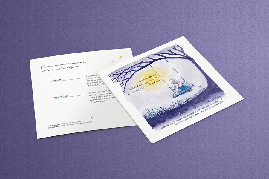 Flyer Selbsthilfegruppe Sternenkinder Konzept Print Editorial Design Grafikdesign Bildbearbeitung