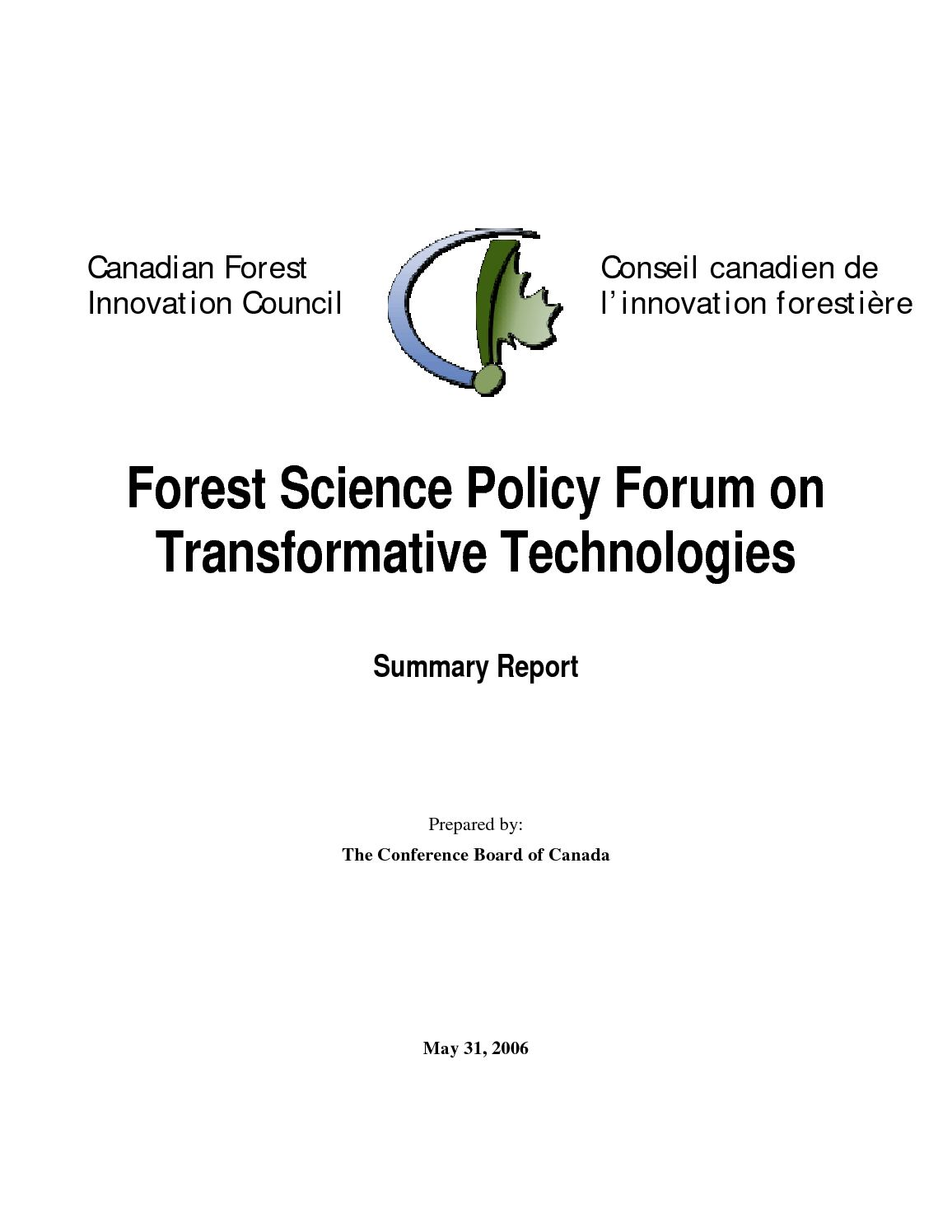 calameo forest science policy forum on transformative technologies summary report