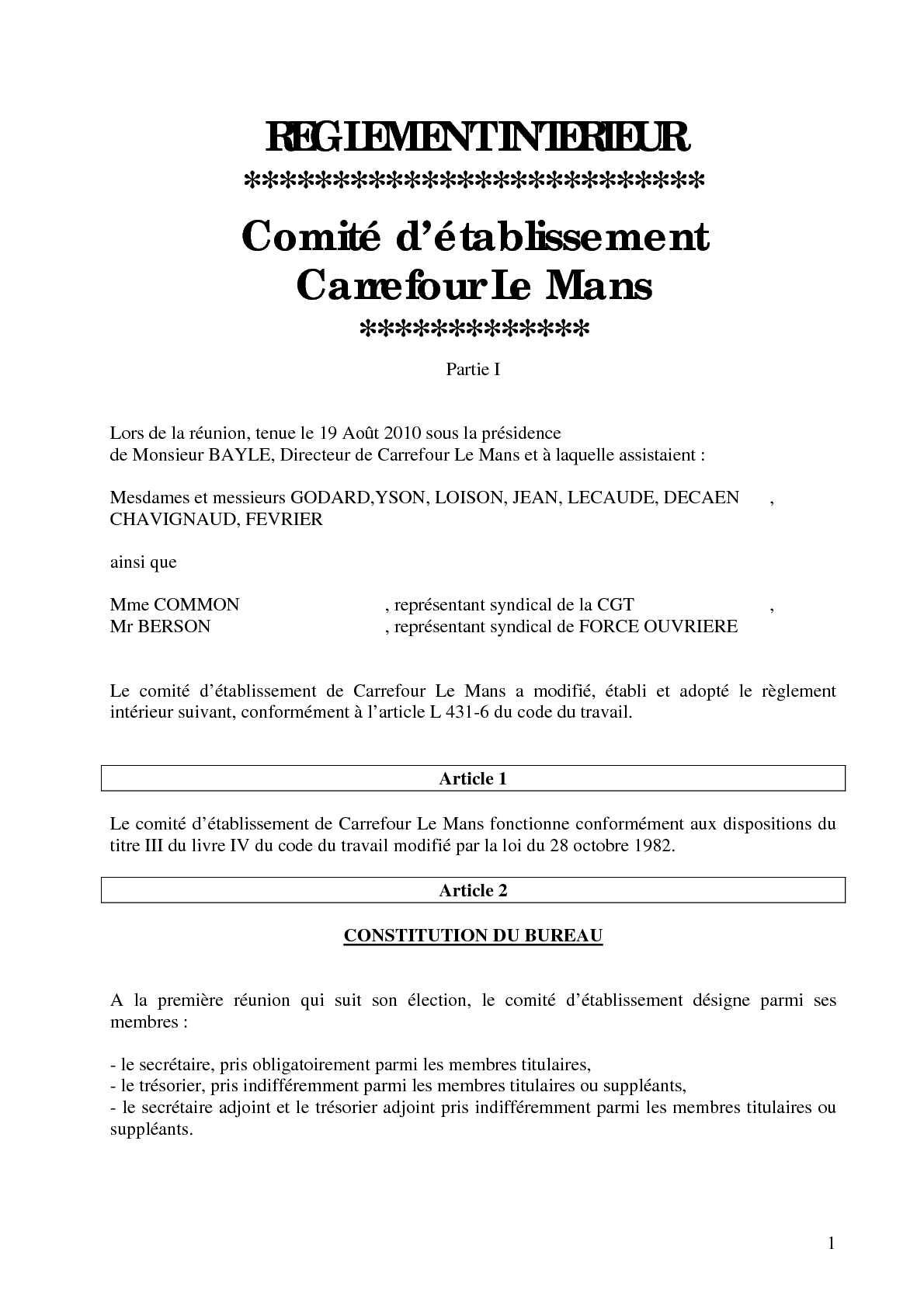 Calamo Mise Jour Rglement Intrieur Du CE De