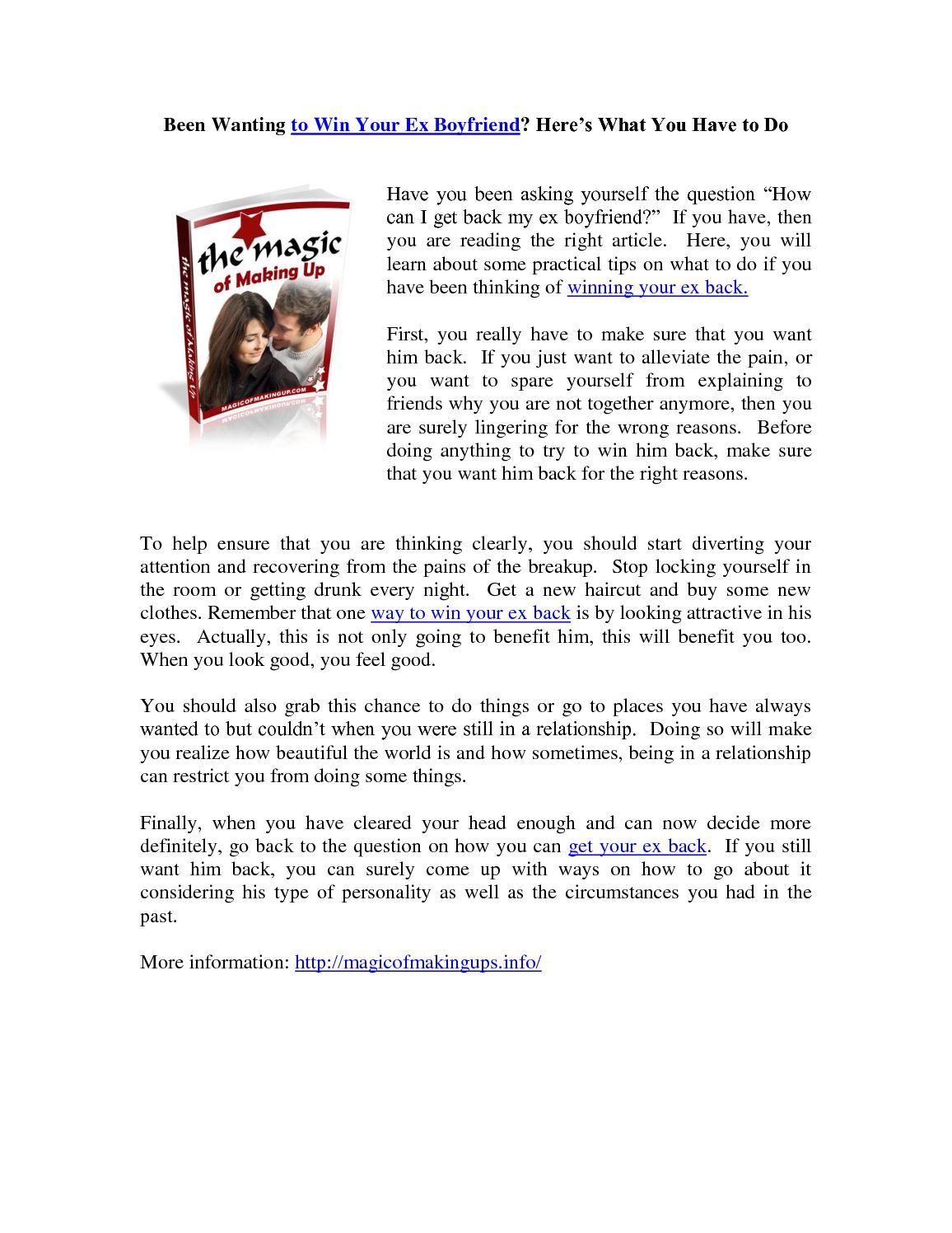 How To Get Your Ex Boyfriend Back Win Him Back Forever – Home Garden