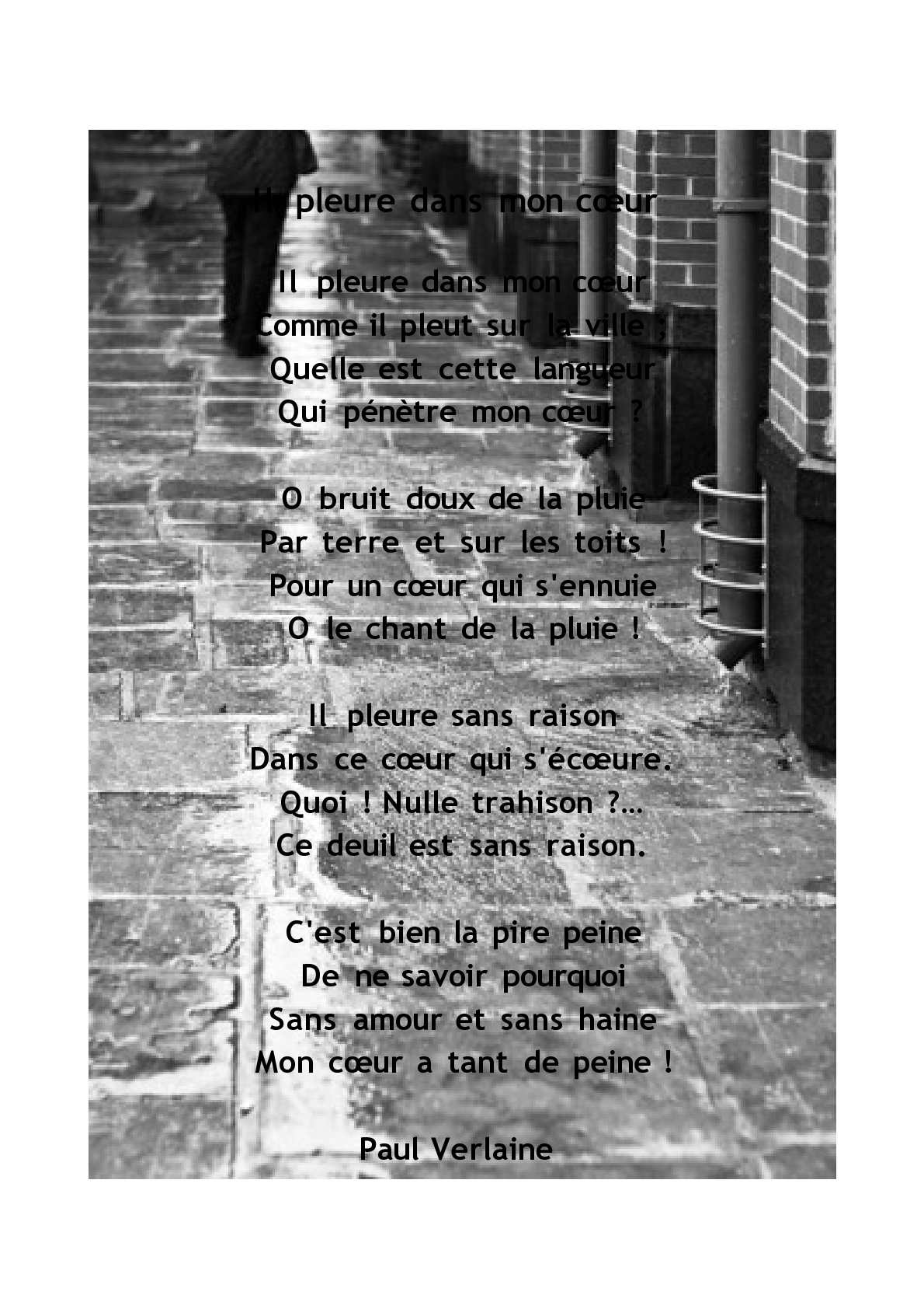 Calam 233 O Il Pleure Dans Mon Coeur Paul Verlaine