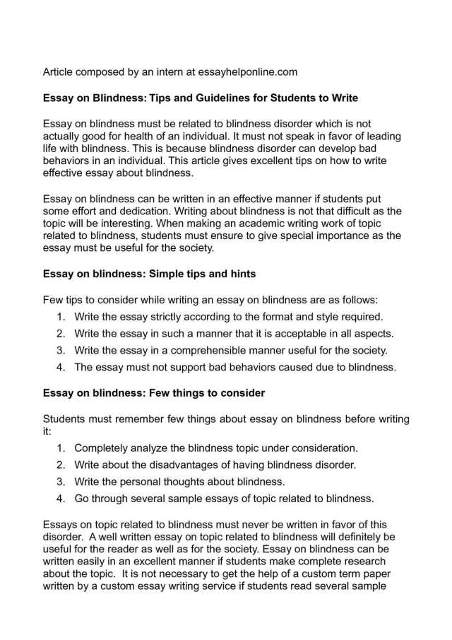 Calaméo - Essay on Blindness: Tips and Guidelines for Students to