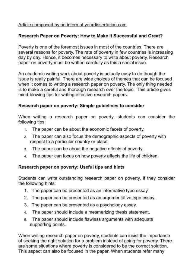 Calaméo - Research Paper on Poverty: How to Make It Successful and
