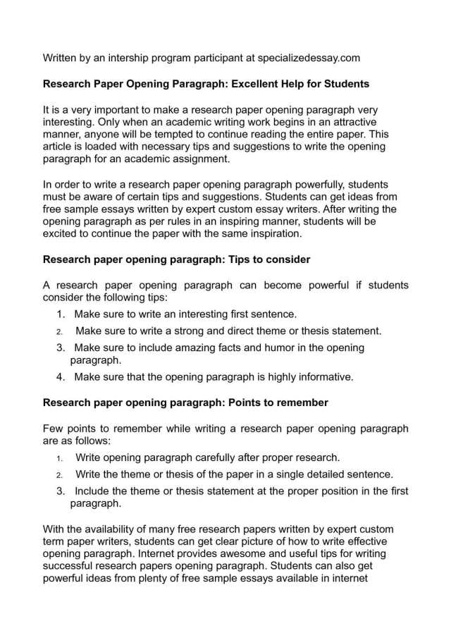 Calaméo - Research Paper Opening Paragraph: Excellent Help for