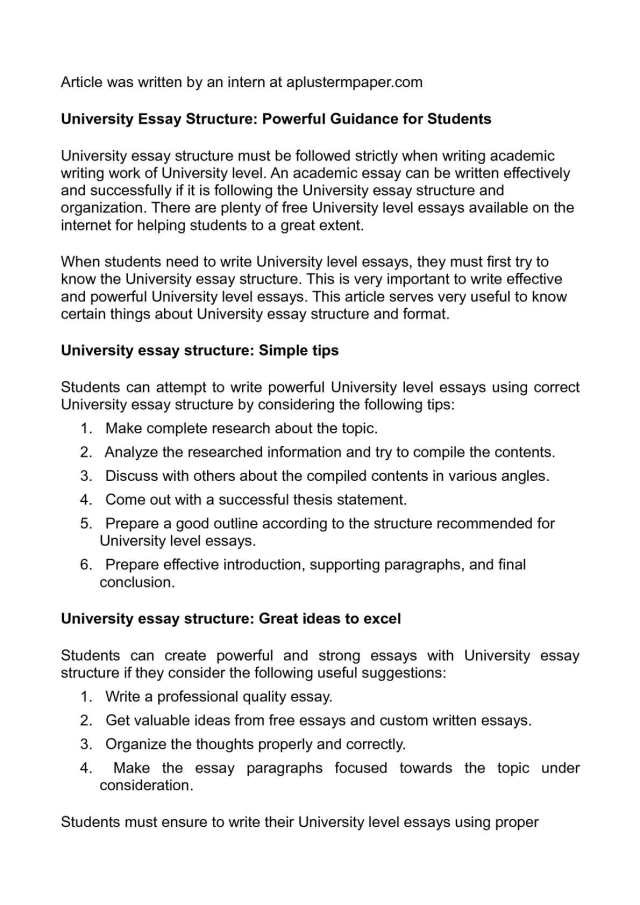 Calaméo - University Essay Structure: Powerful Guidance for Students