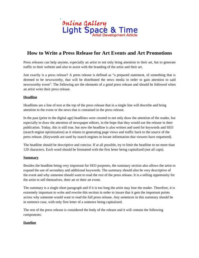 Calaméo - How to Write a Press Release for Art Events and Art