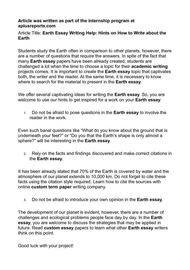 Calaméo - Earth Essay Writing Help: Hints on How to Write about