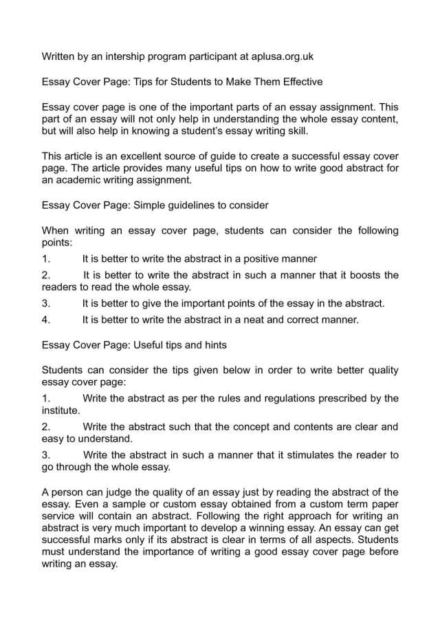 Calaméo - Essay Cover Page: Tips for Students to Make Them Effective