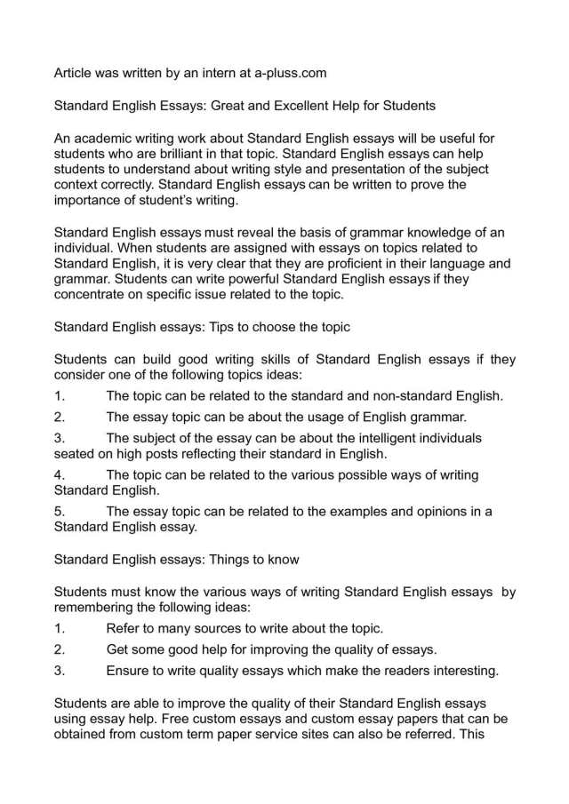Calaméo - Standard English Essays: Great and Excellent Help for