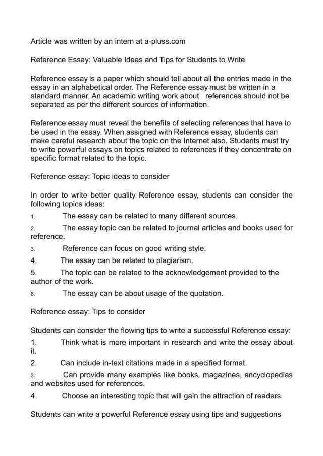 Calaméo - Reference Essay: Valuable Ideas and Tips for Students to