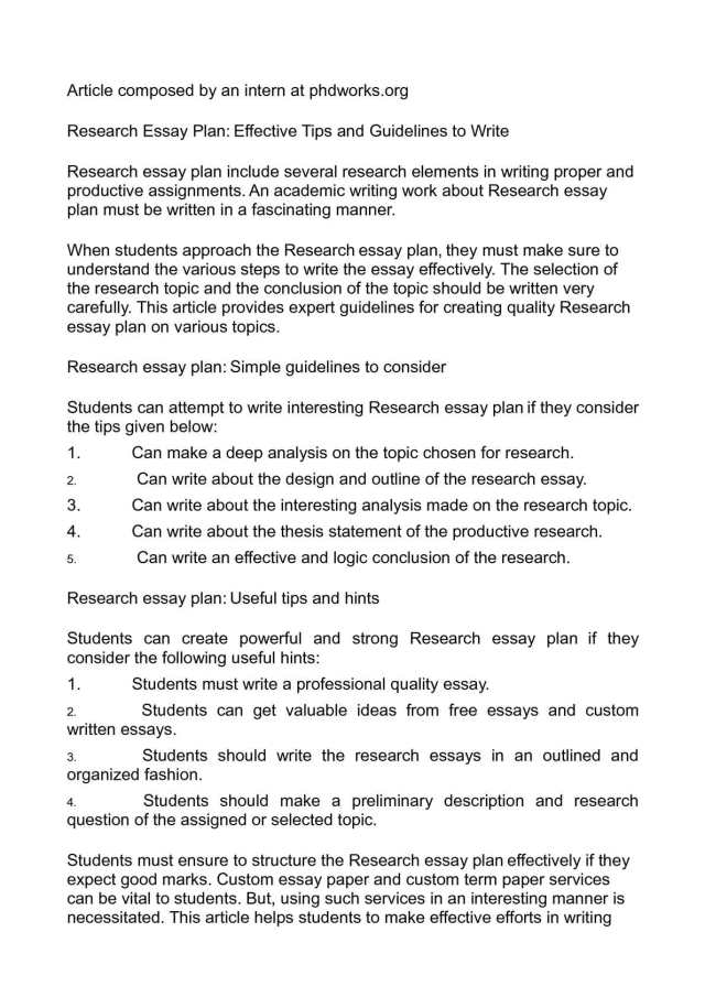 Calaméo - Research Essay Plan: Effective Tips and Guidelines to Write