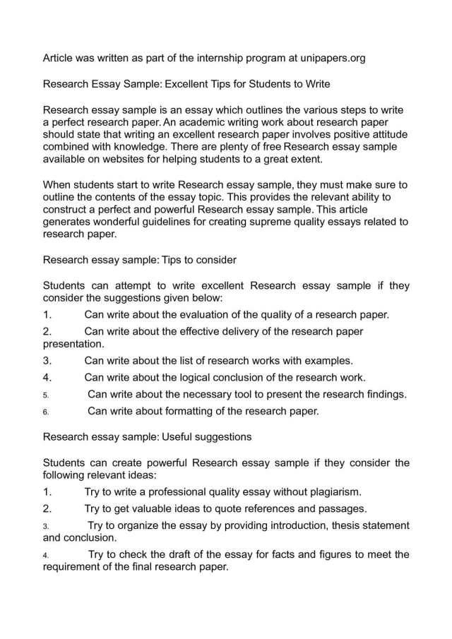 Calaméo - Research Essay Sample: Excellent Tips for Students to Write