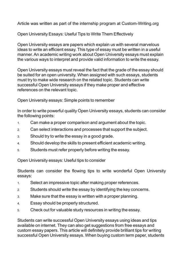 Calaméo - Open University Essays: Useful Tips to Write Them