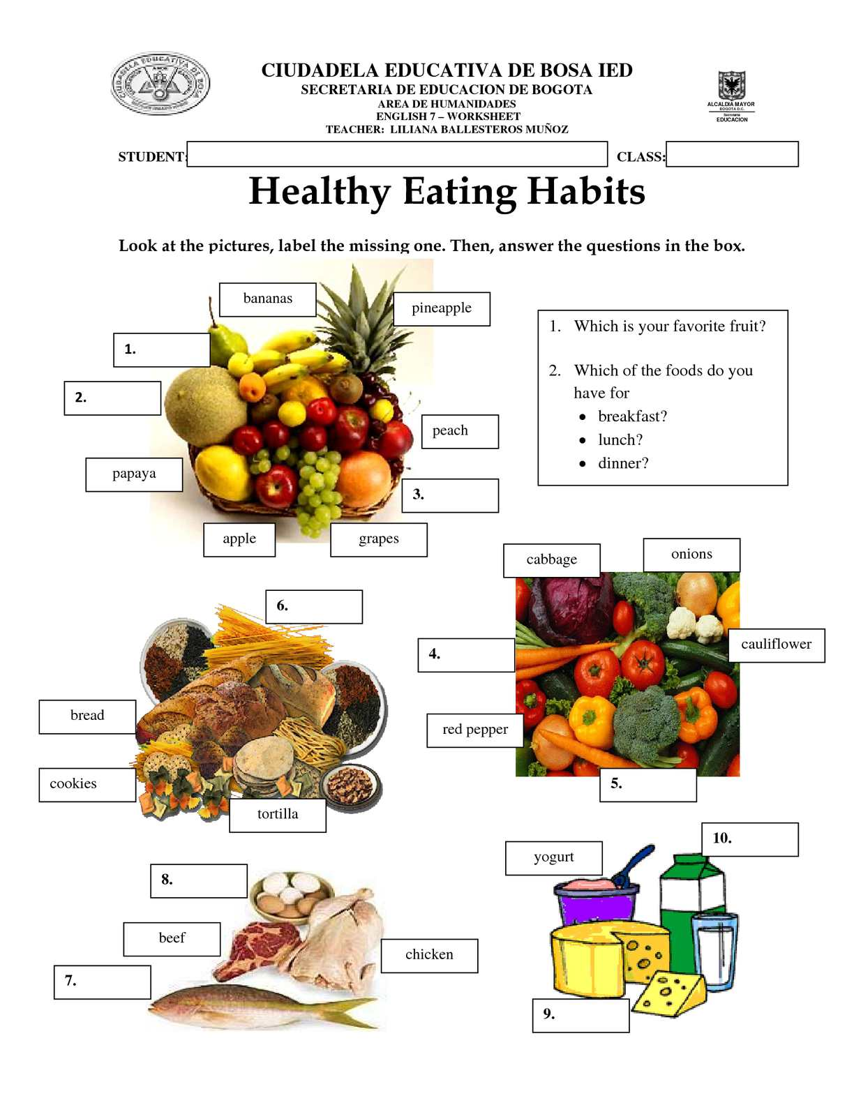 Worksheet Healthy Habits Women