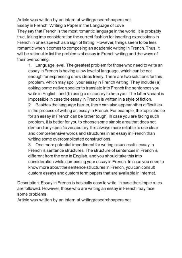 Calaméo - Essay in French: Writing a Paper in the Language of Love
