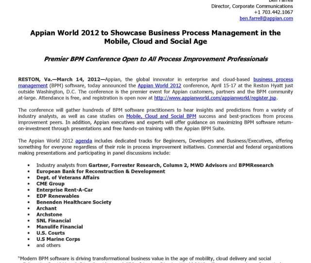 Calameo Appian World 2012 To Showcase Business Process Management In The Mobile Cloud And Social Age