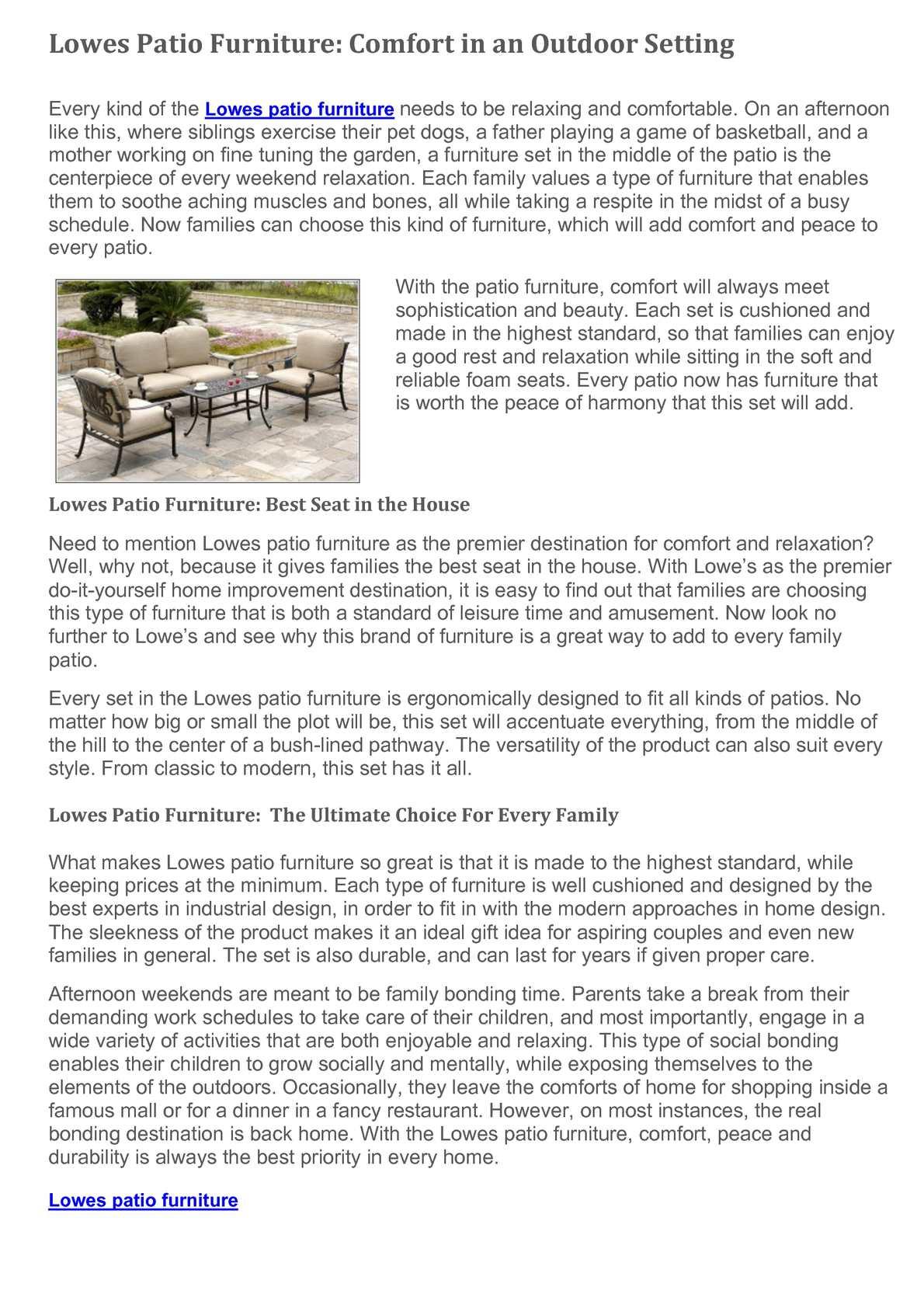 lowes patio furniture comfort