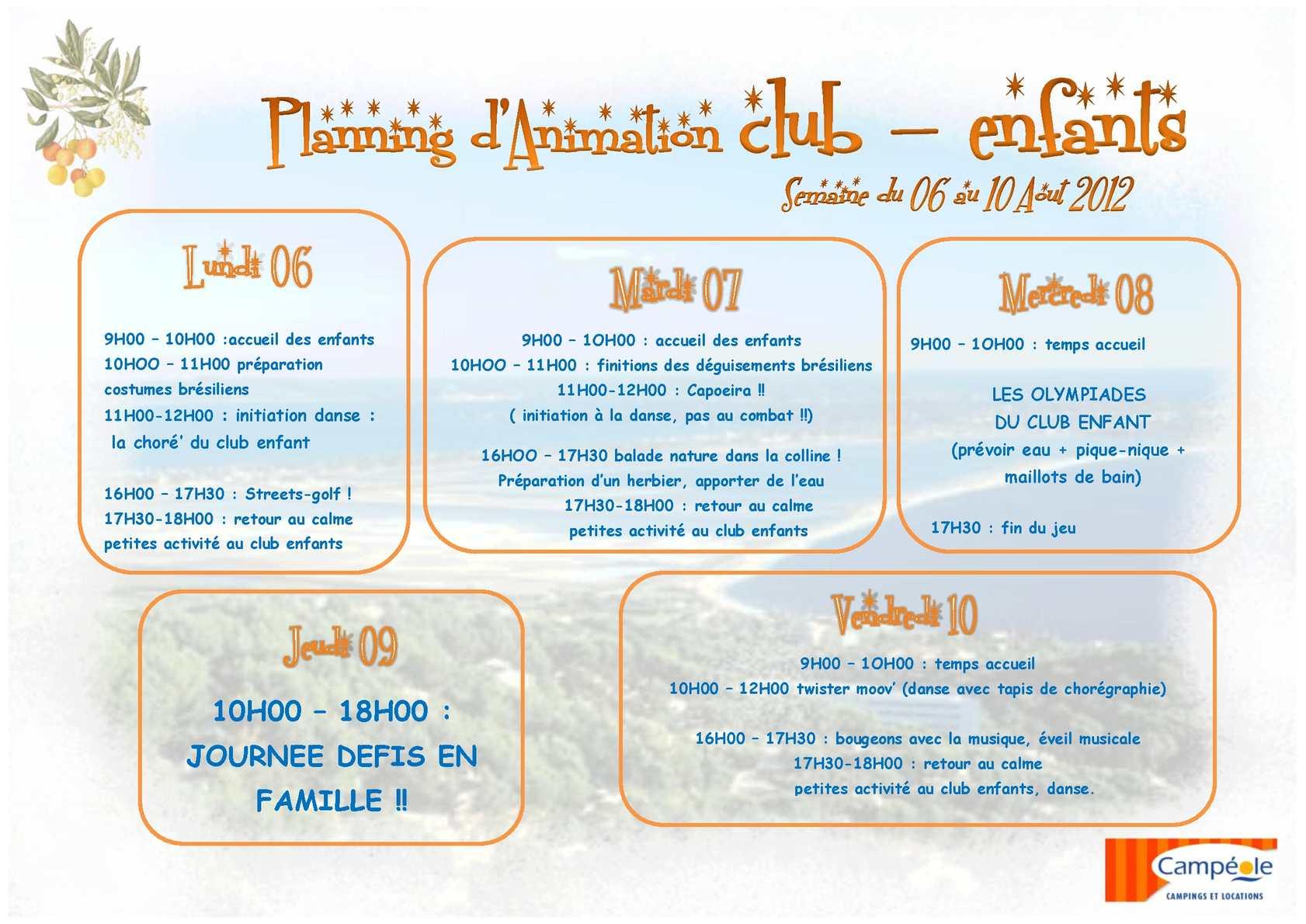 Calamo Planning Club Enfant Du 06 Aot Au 10 Aot