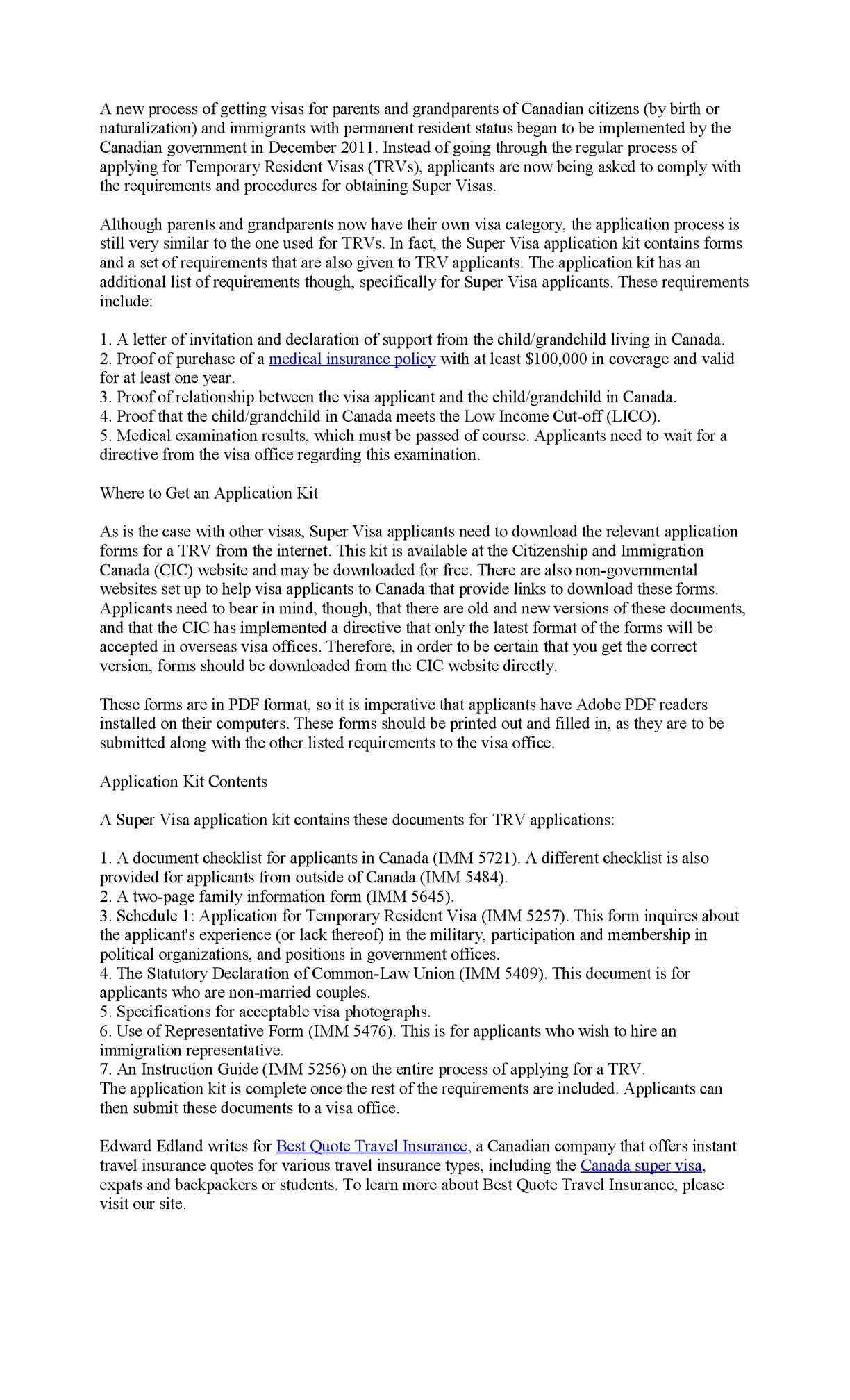 super visa application kit for canada
